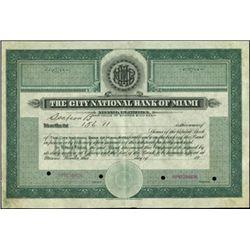 City National Bank of Miami Stock Specimen,