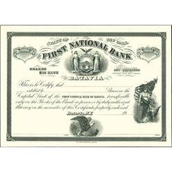 First National Bank of Batavia Proof,