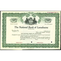 Pennsylvania National Bank Stock Specimens (4),