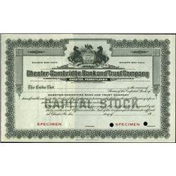 Mixed Pennsylvania Bank Stock Specimen Group (4),