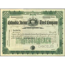 Columbia Avenue Trust Company Stock Specimen,