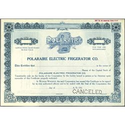 Polaraire Electric Frigerator Co. Stock Specimen,