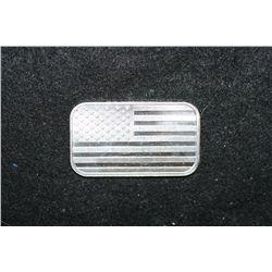 US Flag Silver Ingot; .999 Fine Silver 1 Oz.