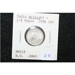 1936 India (British) 1/4 Rupee Foreign Coin; BU