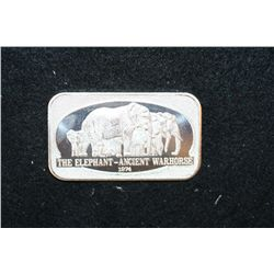 1874 The Elephant-Ancient Warhorse Silver Ingot; .999+ Fine 1 Oz.; United States Silver Corp.