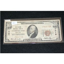 1929 US National Currency $10; Brown Seal; The Second National Bank of Cumberland MD