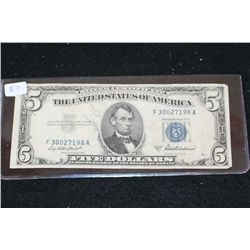 1953-A US Silver Certificate $5; Blue Seal