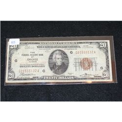 1929 US National Currency $20; Brown Seal; The Federal Reserve Bank of Chicago IL