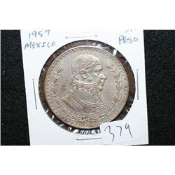 1957 Mexico Un Peso Foreign Coin