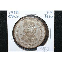 1958 Mexico Un Peso Foreign Coin