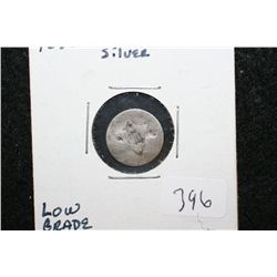 1852 Three Cent Silver Piece; Low Grade