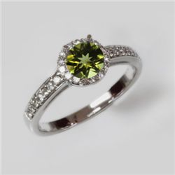 Natural 1.25 ct 2.97g Peridot & Diamond 14k WG Ring