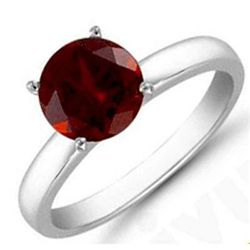 Garnet 1.40 ctw Solitaire Ring 14kt W/Y  Gold