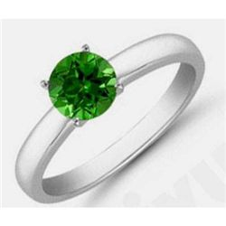 Green Tourmaline 3.0 ctw Solitaire Ring 14kt W/Y  Gold