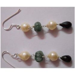 Natural 25.10 ctw Pearl/Sapphire/Semi Precious Earring