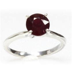Natural 2ctw Ruby .925 Sterling Silver Ring