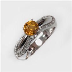 Natural 1.46 ct 5.17g Citrine & Diamond 14k WG Ring