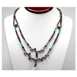 Natural 145.47 ctw Emerald, Ruby Sapphire Bead Necklace