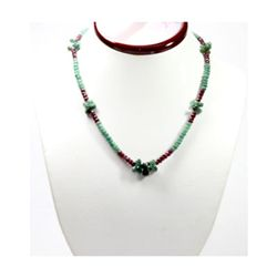 Natural 102.80 ctw Ruby & Emerald Bead Necklace