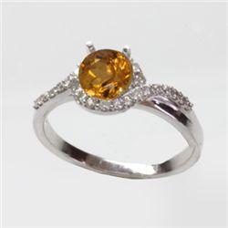 Natural 1.35 ct 3.51g Citrine & Diamond 14k WG Ring
