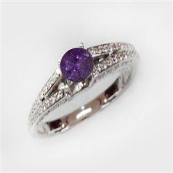 Natural 1.49 ct 4.41g Amethyst & Diamond 14k WG Ring