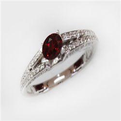 Natural 1.64 ct 4.41g Garnet & Diamond 14k WG Ring