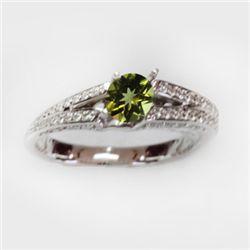 Natural 1.39 ct 4.41g Peridot & Diamond 14k WG Ring