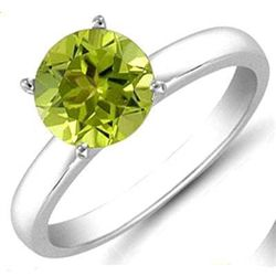 Peridot 0.85 ctw Solitaire Ring 14kt W/Y  Gold