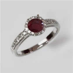 Natural 1.75 ct 2.97g Ruby & Diamond 14k WG Ring