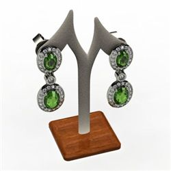 Emerald 3.54 ctw Diamond Dangling Earring 14k W/Y Gold
