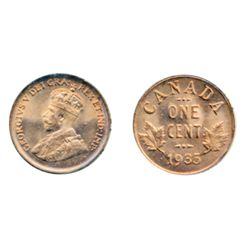 1935. ICCS Mint State-65. Red. A full red coin, with 100% blazing luster.