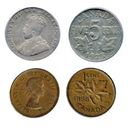 1955. No Shoulder Fold. ICCS Fine-12; FIVE CENTS. 1925. PCGS graded Very Fine-20. Lot of two (2) 'ke