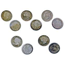 1871. 1886, Small 6. 1898. All three (3) are ICCS Very Fine-20; 1882-H. ICCS Fine-12; 1901. ICCS AU-