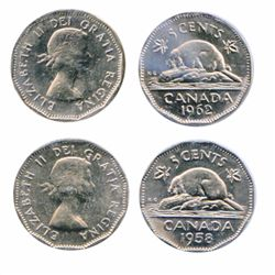 1958. 'Doubled 18' variety. 1962. 'Doubled Date'. Both ICCS Mint State-64.