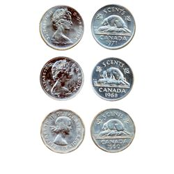 1960, 1968, 1971. Lot of three (3) coins, all Gem ICCS Mint State-65.