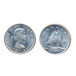 1962. 'Double 1962'. ICCS Mint State-64. TEN CENTS. 1955. ICCS Mint State-65. Lot of two (2) coins.