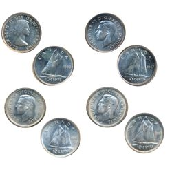 1938, 1942, 1947, 1953, SF. Lot of four (4) brilliant coins, all ICCS Mint State-63.