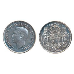 GEORGE VI LOT. TEN CENTS. 1939. ICCS Mint State-63; 25 CENTS. 1937. ICCS Mint State-63; 50 CENTS. 19