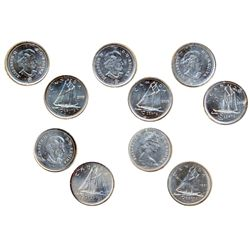 1971. ICCS Mint State-66; 2005P, 2006P, 2007, 2008. All ICCS Mint State-65. Lot of five (5) coins.