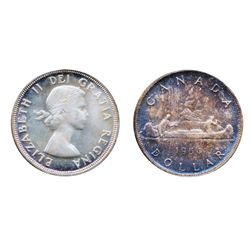 1954. ICCS Mint State-65. The obverse with faint gold 'P.Q.' toning. The reverse with deep iridescen