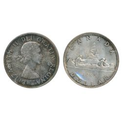 1962. ICCS Mint State-64. Medium to heavy on obverse, with a more brilliant reverse. Excellent 'eye