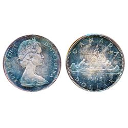 1965. Type 2. Small Beads, Blunt 5. ICCS Mint State-64. Cameo. Rich iridescent purple toning.