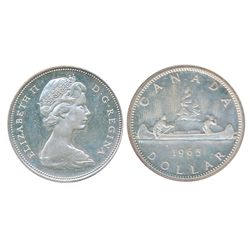 1965. Type 3. Large Beads, Blunt 5. Proof-Like-65. Heavy Cameo. Traces of light blue toning.