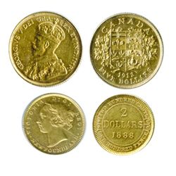$5.00 GOLD. 1912. Very Fine-20; Also, NEWF. $2.00. 1888. EF-40. Scratch on obverse. Lot of two (2) g