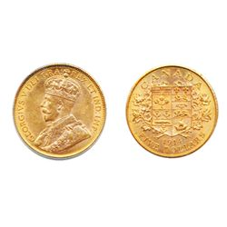 $5.00 GOLD. 1914. CCCS graded Mint State-63. A lustrous example. Orange-yellow luster.