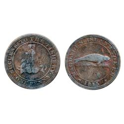 Breton-520. CH-LC1. Magdalen Island Penny. 1815. ICCS Fine-15.