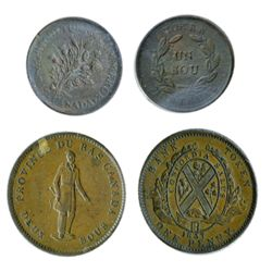 Breton-521. LC-9A1. One Penny. 1837. City Bank. ICCS Very Fine-30; Breton-678. LC-23C. Bouquet Sou.