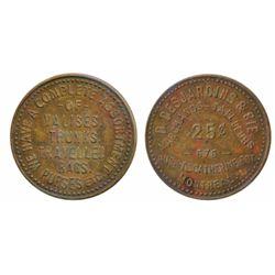 D. Desjardin, Montreal. 25 Cents. Brass. ICCS Very Fine-30.
