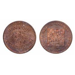 Breton-587. Checker Club. Copper. ICCS Mint State-63.