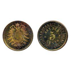 Breton-589. Gesangverein. 5 Cents. Arms. Brass. ICCS Mint State-65.